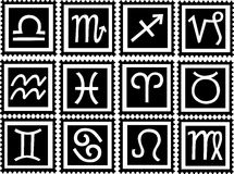 Stamps with signs of the zodiac. White stamps with black signs of the zodiac. Available as EPS-File Stock Images