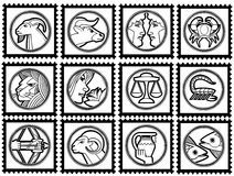 Stamps with signs of the zodiac. White stamps with black border and black signs of the zodiac. Available as EPS-file Royalty Free Stock Photos