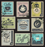 Stamps on the theme of coffee Stock Photography