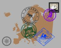 Stamps of theme Europe Stock Images