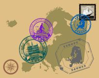 Stamps of theme Europe Stock Photos