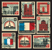 Stamps on the theme of France. Set of stamps on the theme of France and with the image of the architectural sights of Paris Stock Image