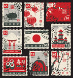 Stamps on the theme of Japan royalty free illustration