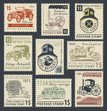 Stamps on the theme of road and rail transport royalty free illustration