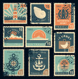Stamps on the theme of travel by sea stock illustration