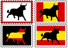 Stamps with toros vector illustration