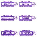 Stamps travel to. Set of stamps travel to bolivia,bhutan,brazil,brunei,botswana,burikina faso Stock Images