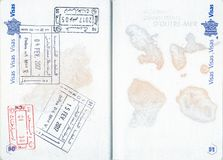 Stamps of Tunisia and Morocco in a French passport Stock Photo