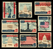 Stamps with United States of America landmarks Stock Photo