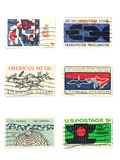Stamps: US vintage stamps 5 cent Royalty Free Stock Photo