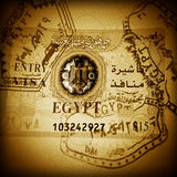 Stamps and visa of Egypt in passport Stock Image