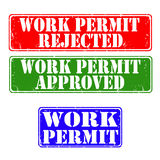 Stamps work permit. Set of grunge rubber stamps work permit, vector illustration Royalty Free Stock Photos