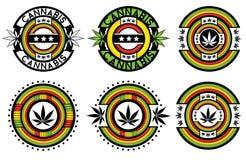 Stampssign jamaicano decorativo de la hoja del cáñamo de la marijuana Fotografía de archivo libre de regalías