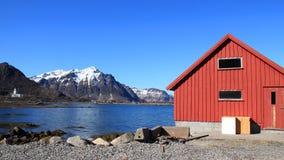 Stamsund Naustet和教会  库存图片
