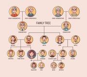 Stamträd- eller anordiagrammall med stående av män och kvinnor i runda ramar Visualization av sammanlänkningar between royaltyfri illustrationer