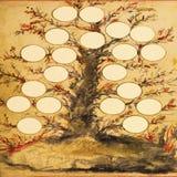 Stamträd med Grungy bakgrund Arkivfoto