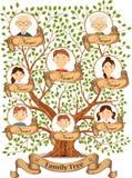 Stamträd med stående av familjemedlemvektorn Arkivfoto