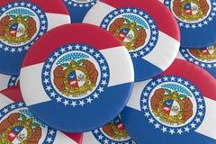 stanów USA guziki: Stos Missouri flagi odznak 3d ilustracja ilustracji