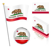 Stan Kalifornia flaga set Zdjęcia Stock