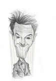 Stan Laurel caricature sketch. For editorial use Stock Images