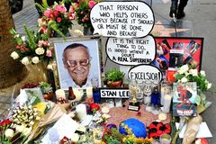 Stan Lee`s memorial on star stock photography