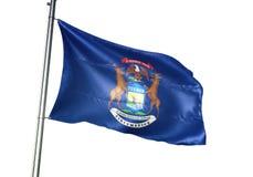 Stan Michigan Stany Zjednoczone flagi falowanie odizolowywający na białego tła realistycznej 3d ilustracji royalty ilustracja