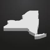 Stan Nowy Jork mapa w szarość na czarnym tle 3d ilustracja wektor