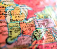 Stan Ohio mapy usa ostrości makro- strzał na kuli ziemskiej dla podróż blogów, ogólnospołecznych środków, sieć sztandarów i tło, Zdjęcie Stock