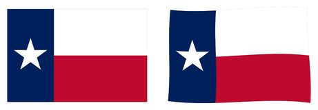 Stan Teksas flaga Prosty i nieznacznie machający wersję ilustracji