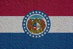 stan USA polityka Lub biznesu pojęcie: Missouri flagi ściana Z tynkiem, tekstura obrazy royalty free