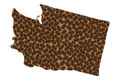 Stan Washington - mapa kawowa fasola Royalty Ilustracja