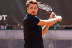 Stan Wawrinka (SUI). ROME, ITALY - MAY 10, 2016: Stan Wawrinka (SUI) during his practice session at the Internazionali BNL d'Italia in Rome, Italy Stock Photography