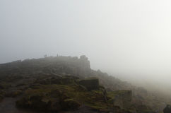 Stanage edge. In the mist, Hathersage, Derbyshire Stock Image