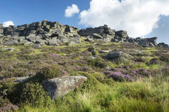 Stanage edge, Peak District, Derbyshire. English country hiking favourite destination, Stanage Edge in the Derbyshire Peak District looks over the Hope Valley Royalty Free Stock Image