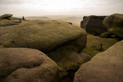 Stanage Edge, Peak District, Derbyshire. Gritstone edge located in the Peak District national park in Derbyshire Stock Image