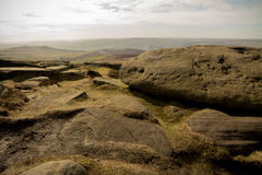 Stanage Edge, Peak District, Derbyshire. Gritstone edge located in the Peak District national park in Derbyshire Royalty Free Stock Images