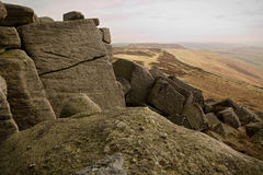 Stanage Edge, Peak District, Derbyshire. Gritstone edge located in the Peak District national park in Derbyshire Royalty Free Stock Photo