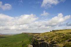 Stanage Edge. View along the Gritstone Stanage Edge, between south Yorkshire and Derbyshire, England with a nice sky Stock Photo