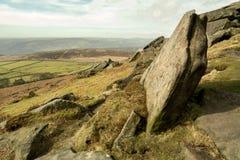 Stanage kant, maximalt område, Derbyshire Arkivbild