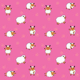 The stance cartoon sheep seamless pattern, vector illustration. Art Royalty Free Stock Photo