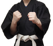 Stance. Karate. Stand in the martial arts boy in black kimono Stock Image