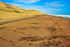 Stanchi i segni sulla sabbia fra l'oceano e le dune del deserto Fotografia Stock