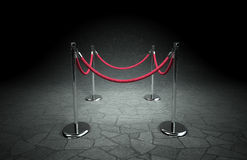 Stanchions and red rope. Abstract scene with stanchions and red rope Stock Photo