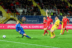 Stancu (Romania) scoring a goal against the Lithuanian football team Stock Image