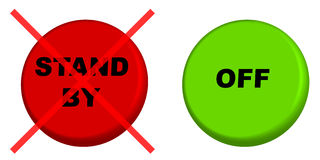 Stand by. Red stand by button with cross over and green off button Stock Photography