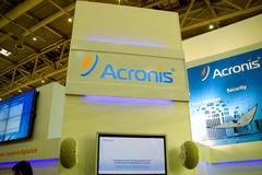 Stand of the Acronis. HANNOVER, GERMANY - MARCH 5: stand of the Acronis on March 5, 2011 in CEBIT computer expo, Hannover, Germany. CeBIT is the world's largest Royalty Free Stock Photos