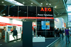 Stand of the AEG in CEBIT computer expo, Hannover. HANNOVER, GERMANY - MARCH 5, 2011: stand of the AEG in CEBIT computer expo, Hannover, Germany. AEG is a German Royalty Free Stock Images