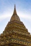 Stand alone pagoda. Texture of Thai pagoda with sun halo Stock Image