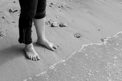Stand on beach. Stand on the beach with waves royalty free stock photos