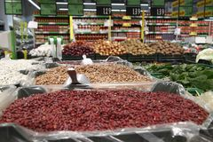 Stand beans in a supermarket Royalty Free Stock Image